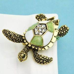 🆕Adorable Rhinestone & Enamel Sea Turtle Brooch